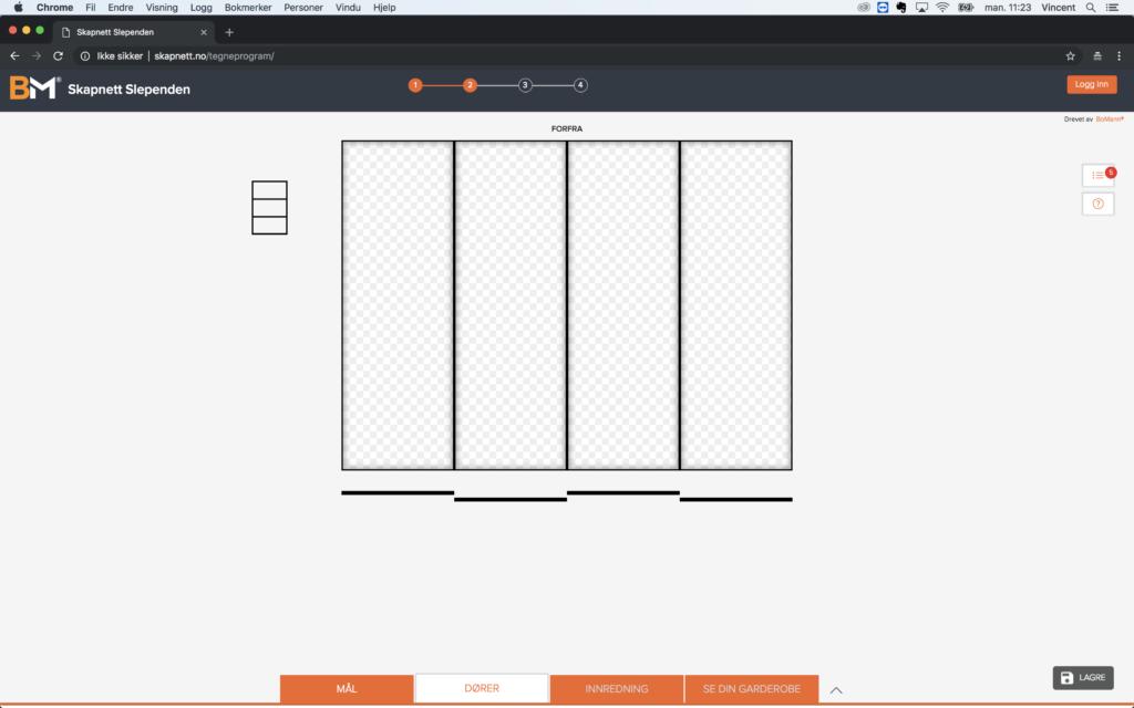 Garderobeskap - design din drøm Bilde: Tegneprogram 6