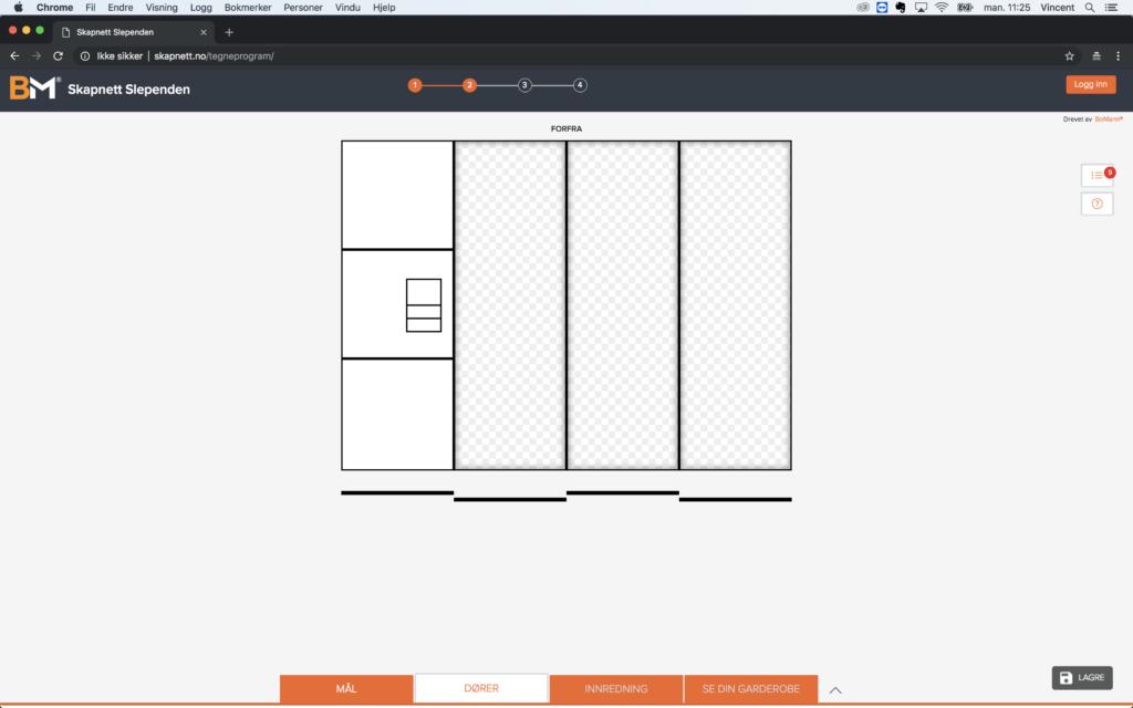 Garderobeskap - design din drøm Bilde: Tegneprogram 5